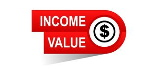Income value banner. Icon on isolated white background - vector illustration Stock Photography