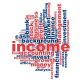 Income word cloud. Concept on white background, 3d rendering Royalty Free Stock Images