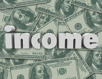 Income Word Hundred Dollar Bills Pile Earn Money Pay Investment Stock Image