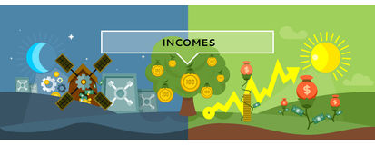 Incomes Concept Design Style Flat. Money, income tax, revenue and profit, salary, investment and tax, business finance, earning cash dollar, financial growth Royalty Free Stock Photo