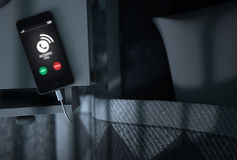 Incoming Call Cellphone Next To Bed Stock Image