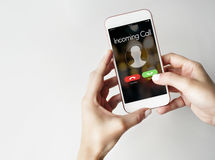 Incoming Call Communication Connect Concept. Smartphone Incoming Call Communication Connect royalty free stock photos