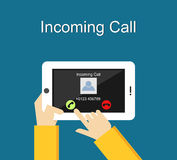Incoming call illustration. Incoming call interface on phone screen illustration concept. Incoming call illustration. Flat design. Incoming call interface on Stock Images