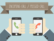Incoming call and missed call on smartphone. Vector Stock Images