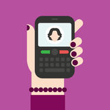 Incoming call on the phone which is in the hand. It can be used for a website, mobile application, presentation, corporate identity design, wherever you decide vector illustration