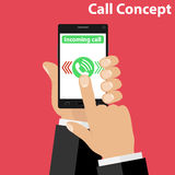 Incoming call, receiving an incoming call. Hands hold the phone. Flat design,  illustration Royalty Free Stock Photo