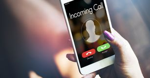 Incoming call smartphone in hand.  stock image