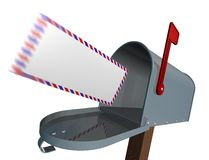 Incoming mail. Flying envelope and mailbox Royalty Free Stock Image