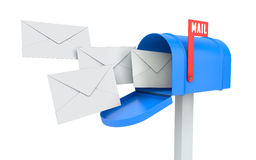 Incoming mail. blue mailbox with letters  Stock Photography