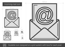 Incoming mail line icon. Royalty Free Stock Images
