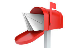 Incoming mail. mailbox with letters isolated Stock Photos
