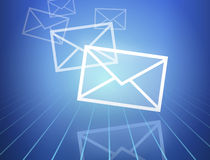 Incoming mails. Illustration of mails coming in Royalty Free Stock Photo