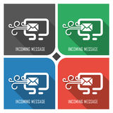 Incoming message flat vector icon on colorful background. simple PC web icons eps8. Royalty Free Stock Photography