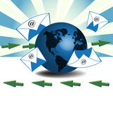 Incoming and outgoing email. Abstract colorful illustration with colorful envelopes flying around the earth and green arrows showing two different directions Royalty Free Stock Photos