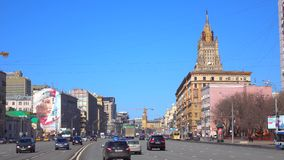 Incoming and outgoing traffic of wide city highway 4K video. Moscow, Russia stock footage