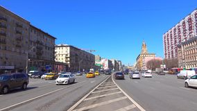 Incoming and outgoing traffic of wide city highway 4K video, wide lens. Moscow stock video