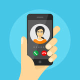 Incoming phone call. Picture of human hand holding mobile phone with woman avatar on its screen, incoming phone call, mobile phone communication, video call stock illustration