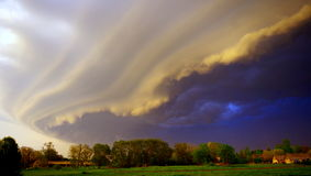 Incoming Storm. A storm coming to a small town Stock Photos