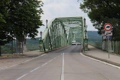 Incoming to Maria Valeria bridge between Hungary and Slovakia from Slovak side, Danube river, Esztergom/Ostrihom. Slovakia royalty free stock photography