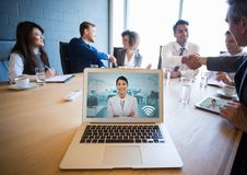 Incoming video call of business woman during conference Royalty Free Stock Photos