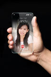 Incoming video call icon on smartphone screen. Royalty Free Stock Photography