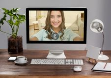 Incoming video call of women on desktop pc Royalty Free Stock Photo