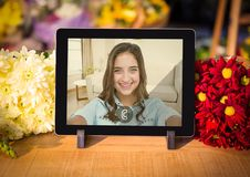 Incoming video call of women on digital tablet Stock Photos