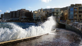 Incoming waves in Marsalforn Royalty Free Stock Image
