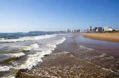 Incomming Tide at Durban Beach with Hotels in Background Stock Photography
