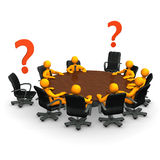 Incomplete. Orange cartoon characters on round table with red question marks Stock Images