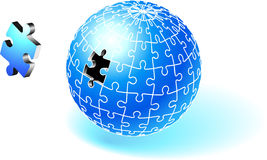 Incomplete Blue Globe Puzzle Stock Photos