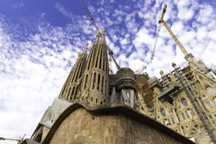 Incomplete, the church Sagrada Familia is a large Roman Catholic church in Barcelona Royalty Free Stock Photography