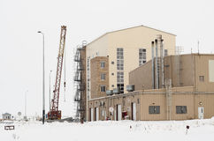 Incomplete construction of the industrial building. Chemical plant under construction on site Stock Photography