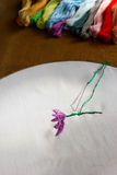 Incomplete embroidery and embroidery craft tool. Royalty Free Stock Photography