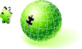 Incomplete Green Globe Puzzle Stock Images