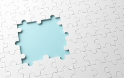 Incomplete jigsaw puzzle with missing pieces, pattern texture. On white background. 3d illustration Stock Illustration