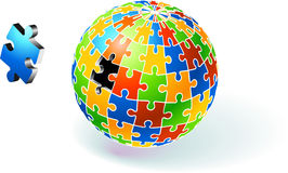 Incomplete Multi Colored Globe Puzzle Stock Image