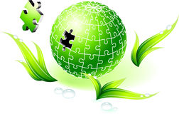 Incomplete Natural Green Globe Puzzle Royalty Free Stock Images