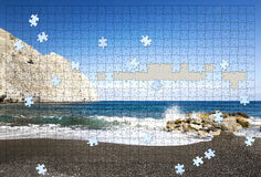Incomplete puzzle beach Royalty Free Stock Images