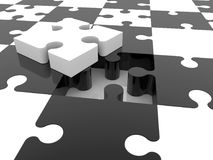 Incomplete puzzle concept in black and white colors.3d Stock Photos
