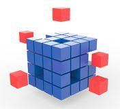 Incomplete Puzzle Shows Finishing Or Completion. Incomplete Puzzle Shows Finishing Solving Or Completion Royalty Free Stock Photo