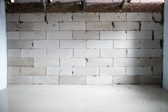 Incomplete renovation room show joints of brick, building to be the wall before plastering. Renovate house concept stock images