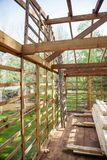 Incomplete Timber Cabin At Construction Site Stock Images