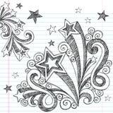 Incompleto a mano de nuevo a Doodles de la escuela Imagenes de archivo