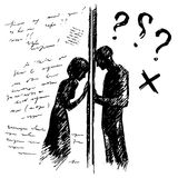 Incomprehension couple man woman talking through the wall. Sketch vector illustration. Misunderstanding conflict. Opposition concept Royalty Free Stock Images