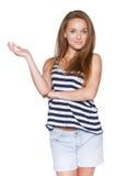 Inconformista de la muchacha del adolescente que muestra el espacio en blanco de la copia Fotografía de archivo