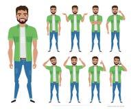 Inconformista de los hombres del carácter Una colección de varios movimientos y emociones stock de ilustración