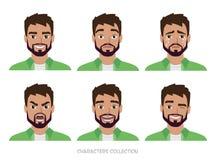 Inconformista de los hombres del carácter Una colección de varios movimientos y emociones libre illustration