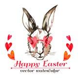 Inconformista del conejito de pascua watercolor Vector Pascua feliz Imágenes de archivo libres de regalías