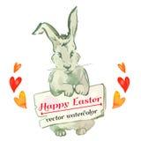 Inconformista del conejito de pascua watercolor Vector Pascua feliz Foto de archivo